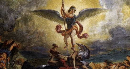 "The image above titled ""St. Michael defeats the Devil"" was painted by Eugene Delacroix"